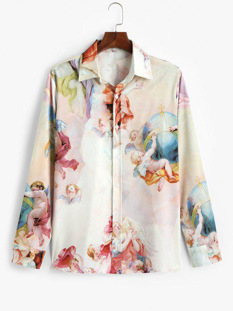 women's Long Sleeve Renaissance Art Print Shirt - RED XL Mobile