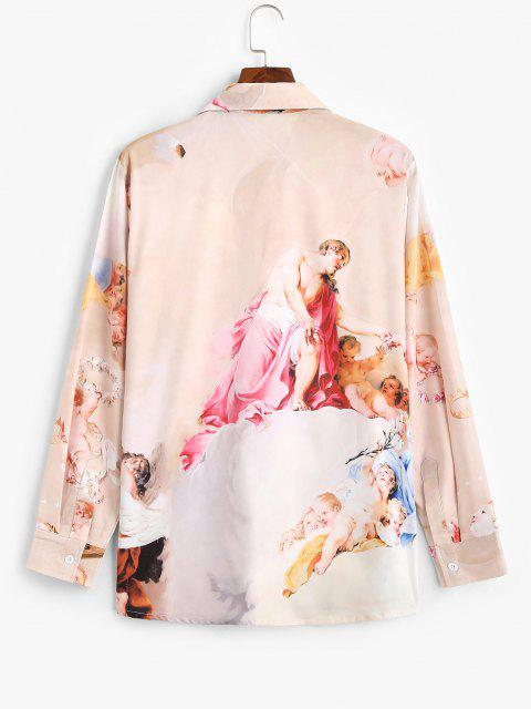 women Long Sleeve Renaissance Art Print Shirt - LIGHT PINK 2XL Mobile