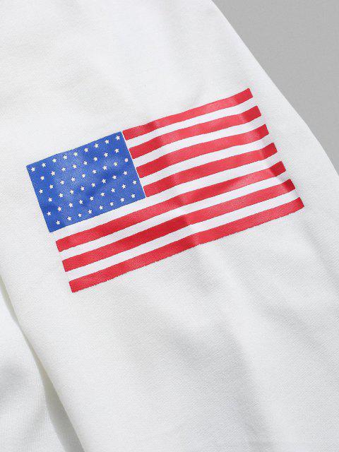 Amerikanische Flagge Buchstabe Druck Rippen Strick Trim Sweatshirt - Weiß 2XL Mobile