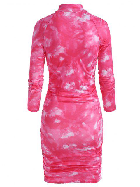 womens Zip Front Tie Dye Gathered Mini Dress - RED M Mobile