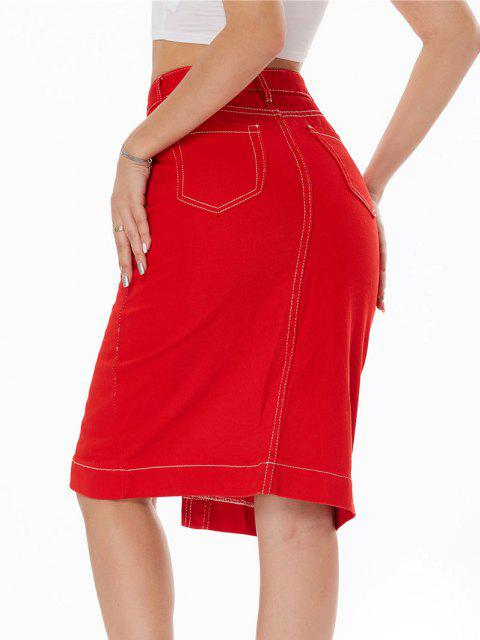 ladies Topstitching Button Fly Colored Denim Skirt - RED L Mobile