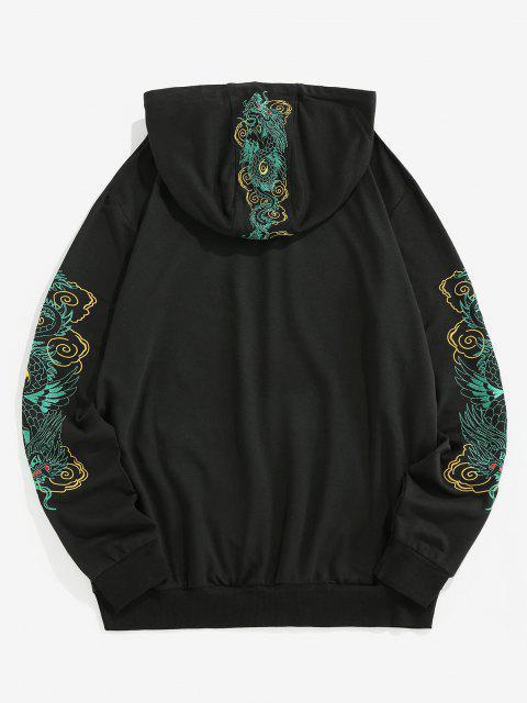 ladies ZAFUL Kangaroo Pocket Dragon Embroidered Oriental Hoodie - BLACK 2XL Mobile