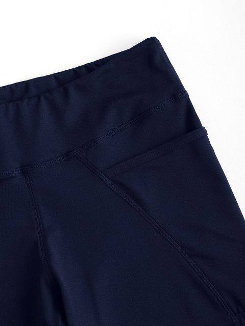 unique High Rise Pocket Stretchy Biker Shorts - BLUE S Mobile