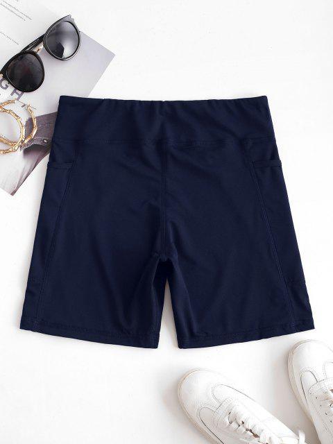 sale High Rise Pocket Stretchy Biker Shorts - BLUE L Mobile