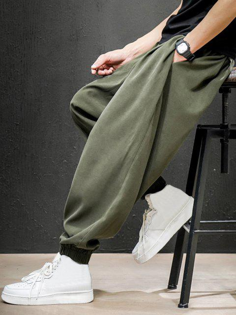 women's Solid Color Elastic Cuff Harem Pants - JUNGLE GREEN XS Mobile