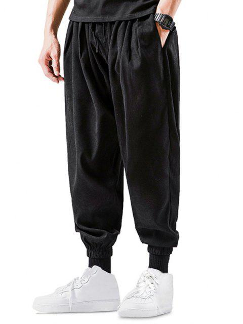 shop Solid Color Elastic Cuff Harem Pants - BLACK XS Mobile