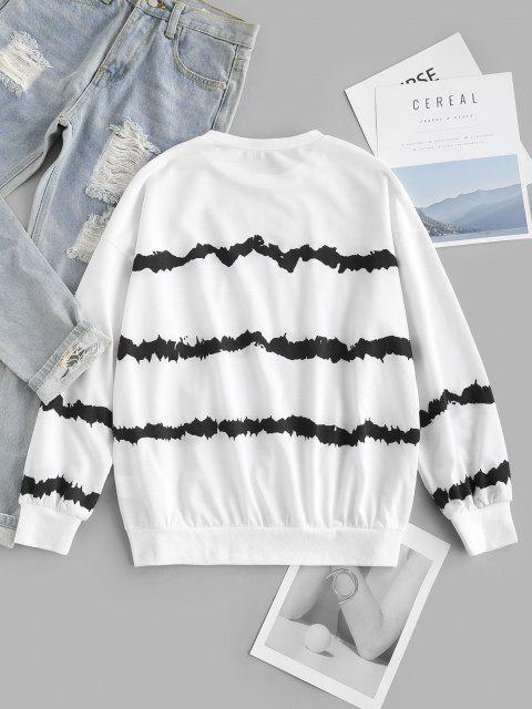 ZAFUL Drop Shoulder Tie Dye Stripes Sweatshirt - أبيض S Mobile