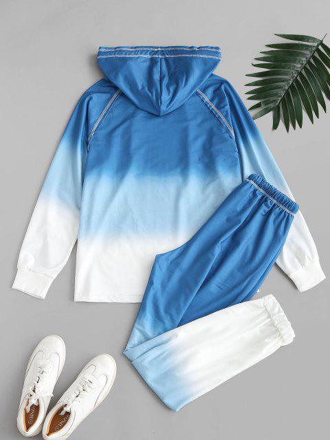 shops Ombre Tie Dye Front Pocket Lounge Two Piece Set - BLUE S Mobile