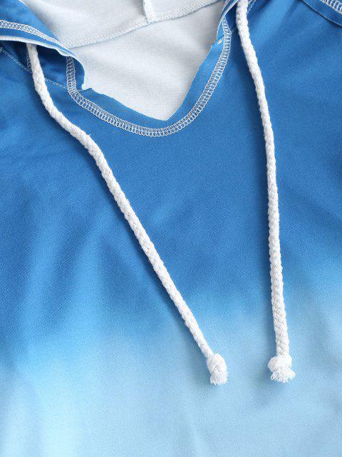 fashion Ombre Tie Dye Front Pocket Lounge Two Piece Set - BLUE L Mobile