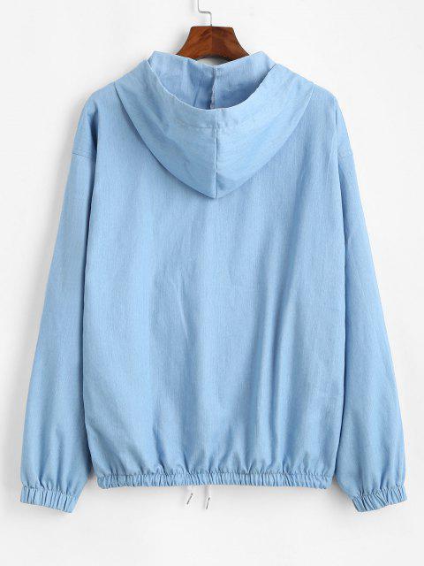 latest Letter Print Half Zip Drop Shoulder Jean Hoodie - LIGHT BLUE S Mobile