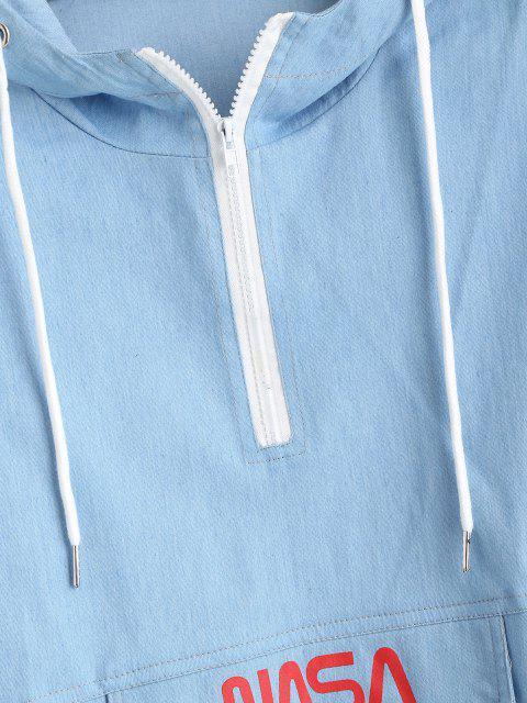 Sweat à Capuche Lettre Imprimée à Demi-Zip en Denim - Bleu clair XL Mobile