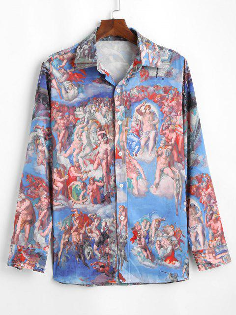 chic Button Up Renaissance Art Shirt - BLUE 2XL Mobile
