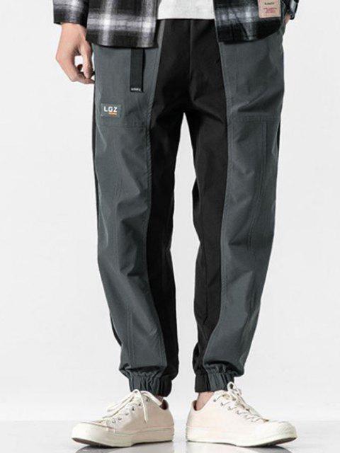 Pantalones Casual con Hebilla de Applique Contraste - Gris L Mobile