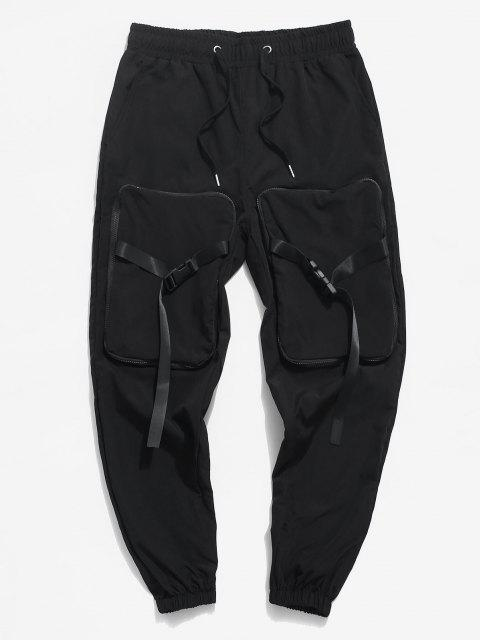 chic Hanzi Detail Release Buckle Strap Cargo Pants - BLACK XS Mobile