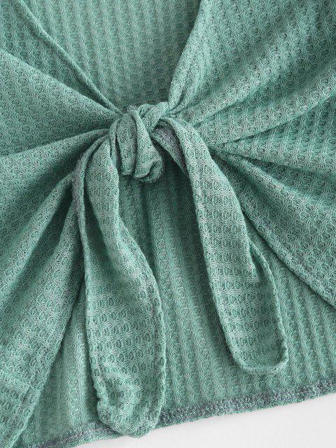 Strukturierte Krawatte Raglan Ärmel Zweiteiler Set - Grün L Mobile