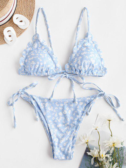 buy ZAFUL Ribbed Ditsy Print Scalloped String Bikini Swimwear - LIGHT BLUE L Mobile