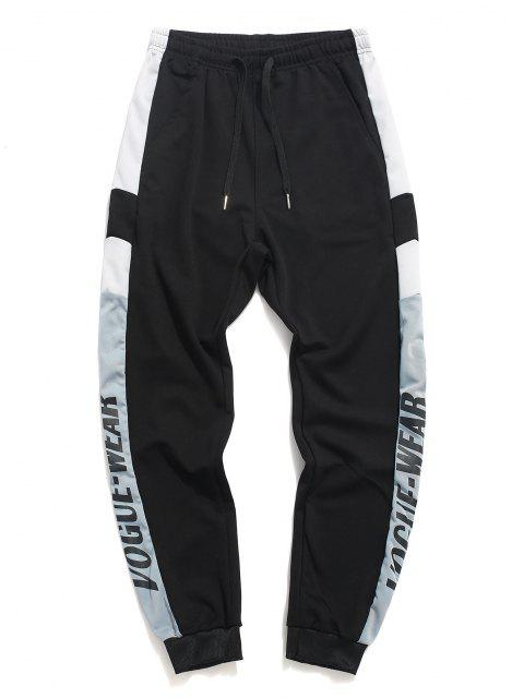 Pantalones Deportivos Estampado Letras y Cordones - Negro L Mobile