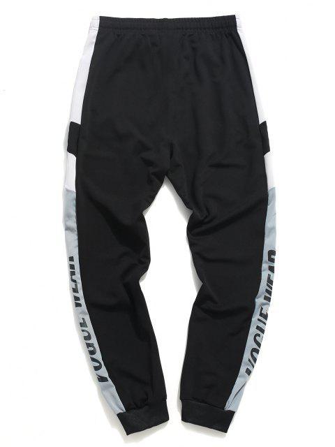 Pantalones Deportivos Estampado Letras y Cordones - Negro XS Mobile