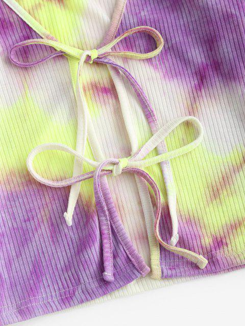 best ZAFUL Tie Dye Ribbed Long Sleeve Top - PURPLE S Mobile