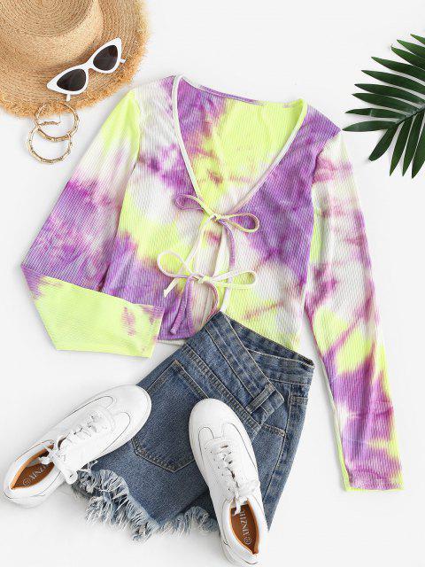 shops ZAFUL Tie Dye Ribbed Long Sleeve Top - PURPLE M Mobile