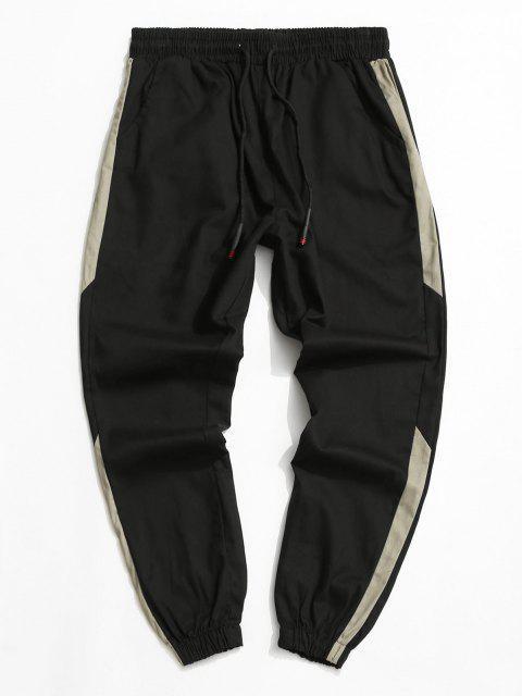 Pantalones Casuales Elásticos Contraste y Cordones - Negro L Mobile