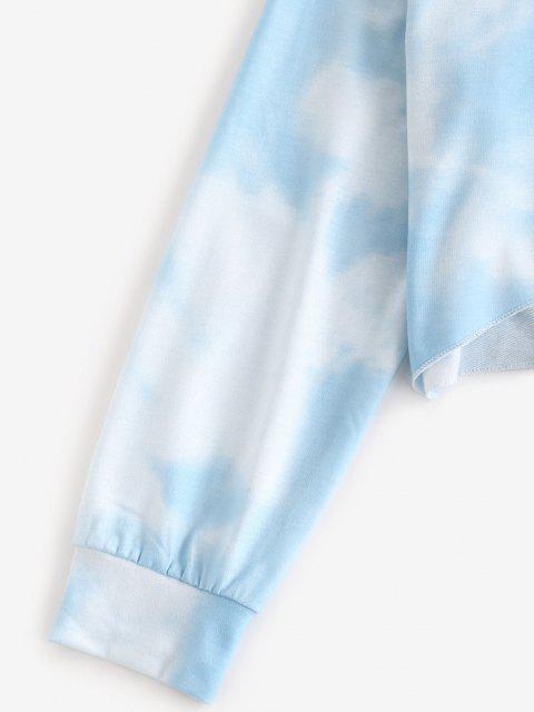 trendy ZAFUL Sky Tie Dye Drop Shoulder Two Piece Shorts Set - LIGHT BLUE L Mobile