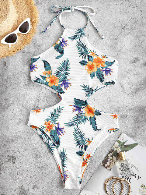 ladies ZAFUL Floral Print Halter Padded High Leg Monokini Swimsuit - WHITE XL Mobile
