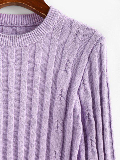 ZAFUL Pull Court Simple Côtelé - Violet clair XL Mobile