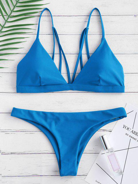 online Padded Back Strappy Bathing Suit - OCEAN BLUE L Mobile