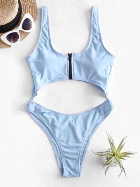women ZAFUL Neon Zip Cutout O-ring High Cut Swimsuit - LIGHT BLUE M Mobile