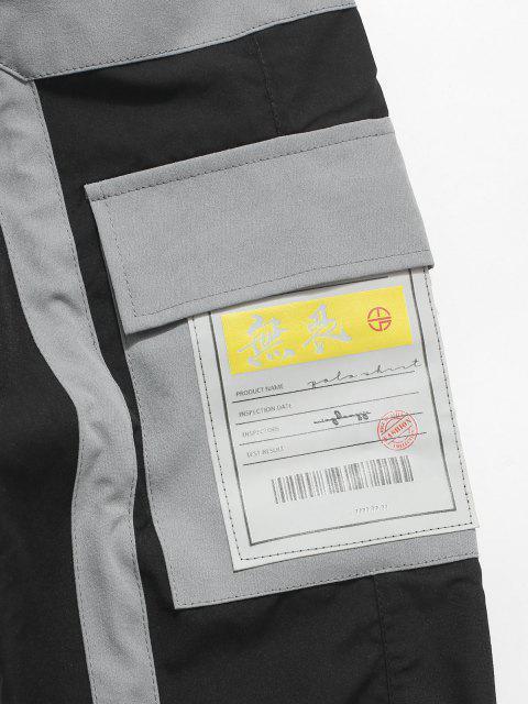 Pantalones de Carga con Cordón y Estampado de Letras - Negro S Mobile