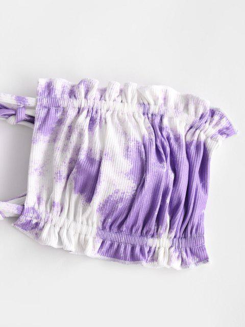 women's ZAFUL Tie Dye Ribbed Frilled Tanga Bandeau Bikini Swimwear - LIGHT PURPLE S Mobile