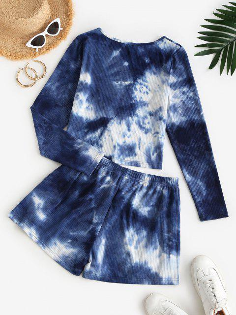 outfits ZAFUL Ribbed Tie Dye Co Ord Set - DEEP BLUE M Mobile