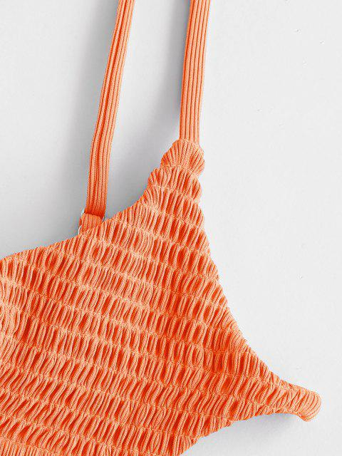 outfits ZAFUL Smocked Ribbed Bralette Keyhole String Bikini Swimwear - DARK ORANGE M Mobile