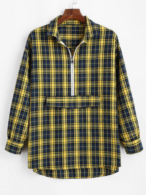 チェック柄のハーフジップシャツ - ディープイエロー 2XL Mobile