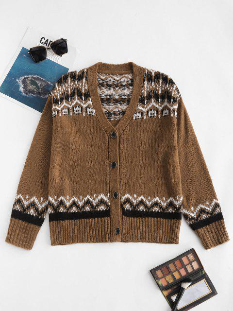 lady Fair Isle Knit Drop Shoulder Button Up Cardigan - COFFEE ONE SIZE Mobile