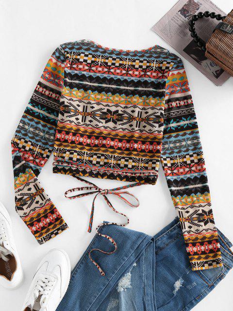 best ZAFUL Fair Isle Knit Crop Wrap Cardigan - LIGHT BROWN L Mobile