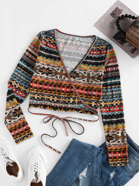 buy ZAFUL Fair Isle Knit Crop Wrap Cardigan - LIGHT BROWN M Mobile