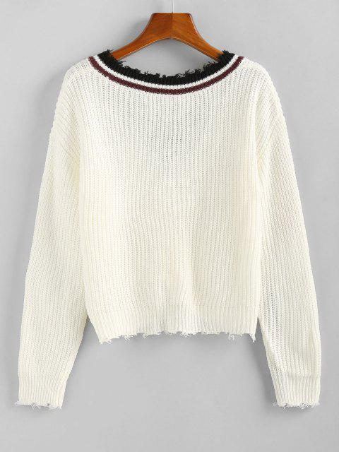 hot ZAFUL Striped Twisted Frayed Drop Shoulder Sweater - WHITE M Mobile