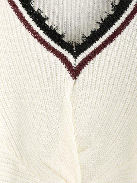 outfit ZAFUL Striped Twisted Frayed Drop Shoulder Sweater - WHITE S Mobile