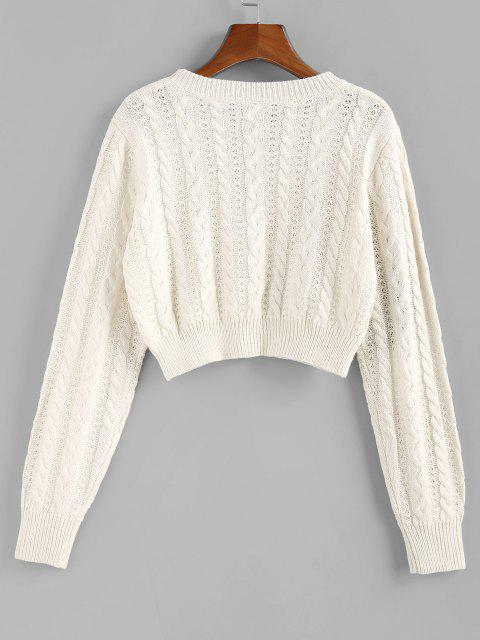 outfits ZAFUL Cable Knit Openwork Crop Sweater - WHITE L Mobile