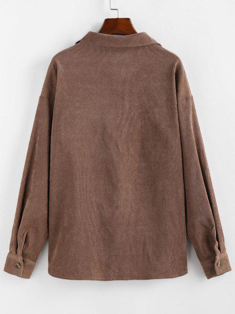 sale ZAFUL Corduroy Pocket Drop Shoulder Shirt Jacket - BROWN L Mobile