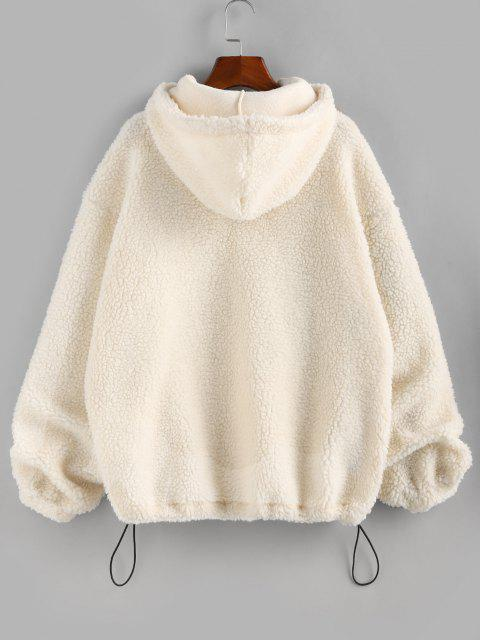 women's ZAFUL Half Zipper Oversized Kangaroo Pocket Teddy Hoodie - WARM WHITE S Mobile