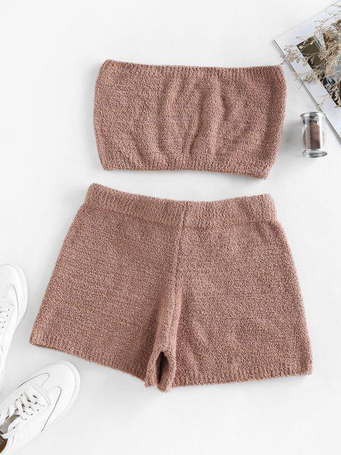 hot ZAFUL Faux Fur Strapless Drawstring Pajama Shorts Set - COFFEE M Mobile