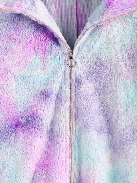 shop ZAFUL Tie Dye Plush Drop Shoulder Crop Coat - MULTI-A M Mobile