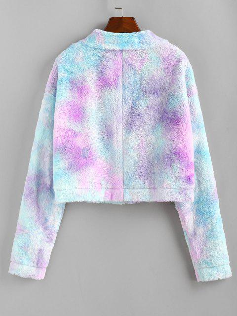 outfits ZAFUL Tie Dye Plush Drop Shoulder Crop Coat - MULTI-A XL Mobile