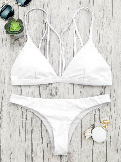 best Padded Back Strappy Bathing Suit - WHITE M Mobile