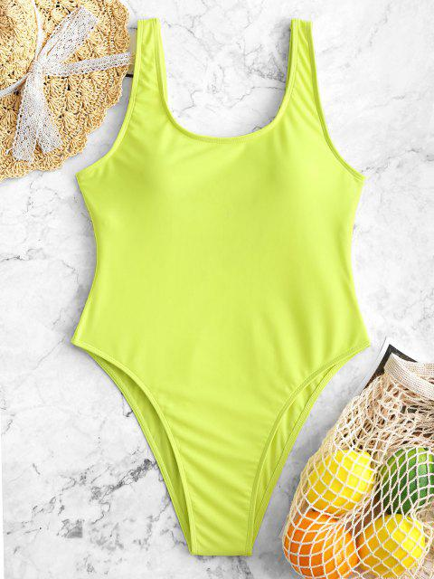affordable High Cut Backless Swimsuit - TEA GREEN XS Mobile