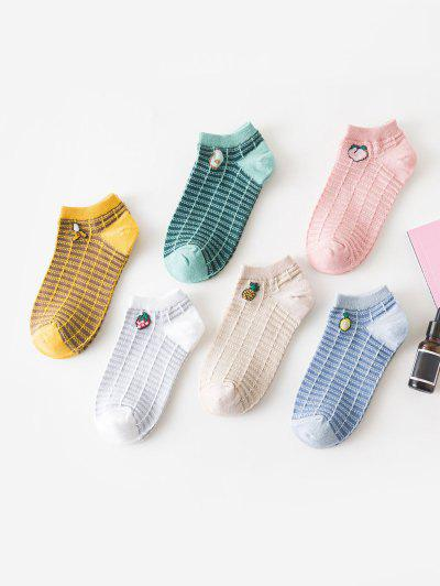 6 Pairs Fruit Pattern Knitted Short Socks - Multi