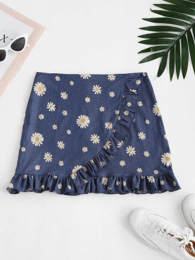 Daisy Ruffles Chambray Mini Skirt - Blue L
